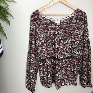 Knox Rose Boho Style large floral print blouse